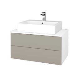 Dřevojas - Koupelnová skříňka MODULE SZZ2 80 - N01 Bílá lesk / M05 Béžová mat (312299)