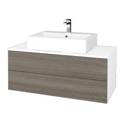 Dřevojas - Koupelnová skříňka MODULE SZZ2 100 - N01 Bílá lesk / D03 Cafe (313593)