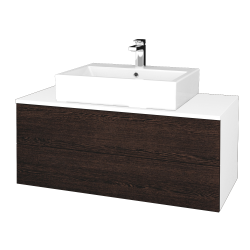 Dřevojas - Koupelnová skříňka MODULE SZZ2 100 - N01 Bílá lesk / D08 Wenge (313630)