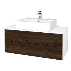 Dřevojas - Koupelnová skříňka MODULE SZZ2 100 - N01 Bílá lesk / D21 Tobacco (313838)