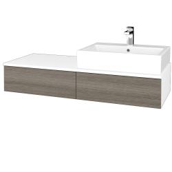 Dřevojas - Koupelnová skříňka MODULE SZZ2 120 - N01 Bílá lesk / D03 Cafe / Levé (314064)