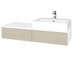 Dřevojas - Koupelnová skříňka MODULE SZZ2 120 - N01 Bílá lesk / D04 Dub / Levé (314071)
