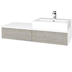 Dřevojas - Koupelnová skříňka MODULE SZZ2 120 - N01 Bílá lesk / D05 Oregon / Levé (314088)