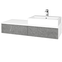Dřevojas - Koupelnová skříňka MODULE SZZ2 120 - N01 Bílá lesk / D20 Galaxy / Pravé (314767P)