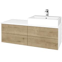 Dřevojas - Koupelnová skříňka MODULE SZZ4 120 - N01 Bílá lesk / D09 Arlington / Levé (315993)