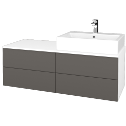 Dřevojas - Koupelnová skříňka MODULE SZZ4 120 - N01 Bílá lesk / N06 Lava / Levé (316105)