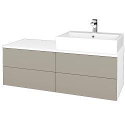 Dřevojas - Koupelnová skříňka MODULE SZZ4 120 - N01 Bílá lesk / L04 Béžová vysoký lesk / Pravé (316556P)