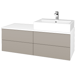 Dřevojas - Koupelnová skříňka MODULE SZZ4 120 - N01 Bílá lesk / N07 Stone / Pravé (316587P)