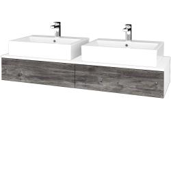 Dřevojas - Koupelnová skříňka MODULE SZZ2 140 - N01 Bílá lesk / D10 Borovice Jackson (316945)