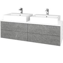 Dřevojas - Koupelnová skříňka MODULE SZZ4 140 - N01 Bílá lesk / D20 Galaxy (318055)