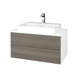 Dřevojas - Koupelnová skříňka MODULE SZZ2 80 - N01 Bílá lesk / D03 Cafe (333843)