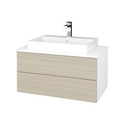 Dřevojas - Koupelnová skříňka MODULE SZZ2 80 - N01 Bílá lesk / D04 Dub (333850)