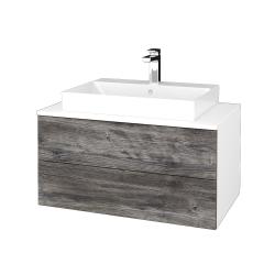 Dřevojas - Koupelnová skříňka MODULE SZZ2 80 - N01 Bílá lesk / D10 Borovice Jackson (333904)