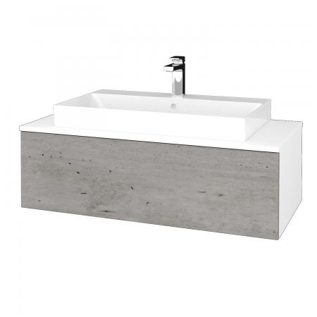 Dřevojas - Koupelnová skříňka MODULE SZZ1 100 - N01 Bílá lesk / D01 Beton (335069)