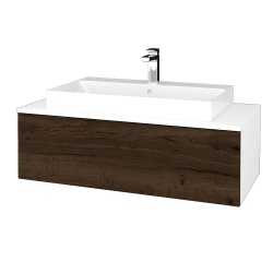 Dřevojas - Koupelnová skříňka MODULE SZZ1 100 - N01 Bílá lesk / D21 Tobacco (335106)