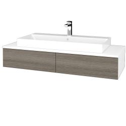 Dřevojas - Koupelnová skříňka MODULE SZZ2 120 - N01 Bílá lesk / D03 Cafe (335854)
