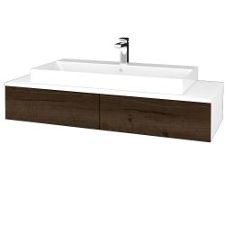 Dřevojas - Koupelnová skříňka MODULE SZZ2 120 - N01 Bílá lesk / D21 Tobacco (336097)