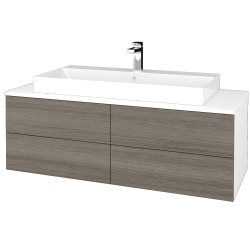 Dřevojas - Koupelnová skříňka MODULE SZZ4 120 - N01 Bílá lesk / D03 Cafe (336837)