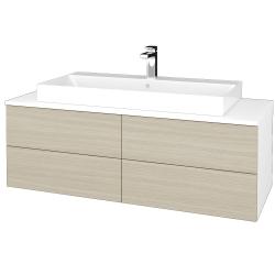 Dřevojas - Koupelnová skříňka MODULE SZZ4 120 - N01 Bílá lesk / D04 Dub (336844)