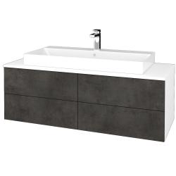 Dřevojas - Koupelnová skříňka MODULE SZZ4 120 - N01 Bílá lesk / D16 Beton tmavý (336912)