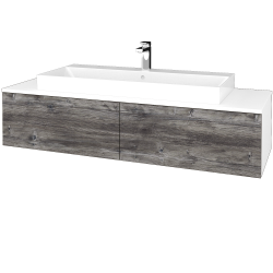 Dřevojas - Koupelnová skříňka MODULE SZZ12 140 - N01 Bílá lesk / D10 Borovice Jackson (337872)