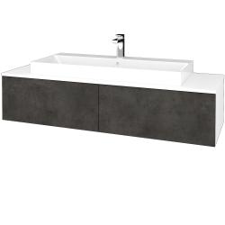 Dřevojas - Koupelnová skříňka MODULE SZZ12 140 - N01 Bílá lesk / D16 Beton tmavý (337896)