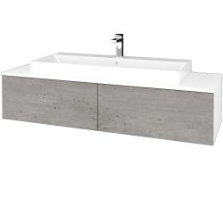 Dřevojas - Koupelnová skříňka MODULE SZZ12 140 - N01 Bílá lesk / D01 Beton (338015)