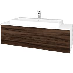Dřevojas - Koupelnová skříňka MODULE SZZ4 140 - N01 Bílá lesk / D06 Ořech (338350)