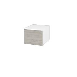 Dřevojas - Skříň nízká DOS SNZ1 40 - N01 Bílá lesk / Bez úchytky T31 / D05 Oregon (281588D)