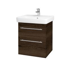Dřevojas - Koupelnová skříň Q MAX SZZ2 55 - D21 Tobacco / Úchytka T02 / D21 Tobacco (275587B)