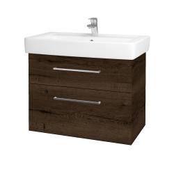 Dřevojas - Koupelnová skříň Q MAX SZZ2 80 - D21 Tobacco / Úchytka T04 / D21 Tobacco (275709E)