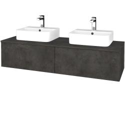 Dřevojas - Koupelnová skříňka MODULE SZZ12 140 - D16  Beton tmavý / D16 Beton tmavý (303143)