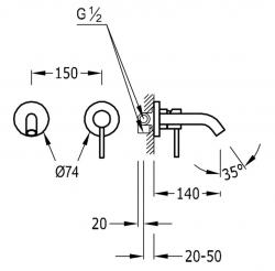 TRES - Jednopáková nástěnná baterieVčetně nerozdělitelného zabudovaného tělesa. Krátké ramínko 140mm (26220080OM), fotografie 2/1