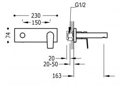 TRES - Jednopáková nástěnná baterieVčetně nerozdělitelného zabudovaného tělesa. Ramínko 163mm. (21120201OR), fotografie 2/1