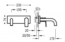 TRES - Jednopáková nástěnná baterieVčetně nerozdělitelného zabudovaného tělesa. Ramínko 170mm. (21120001KM), fotografie 2/1