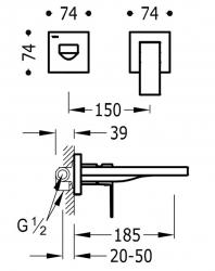 TRES - Jednopáková nástěnná baterieVčetně nerozdělitelného zabudovaného tělesa. Ramínko 185mm. (00620012OM), fotografie 2/1