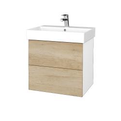 Dřevojas - Koupelnová skříň VARIANTE SZZ2 60 - N01 Bílá lesk / D15 Nebraska (260347)