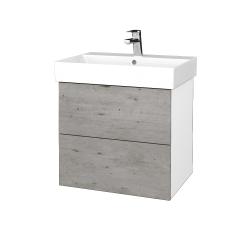 Dřevojas - Koupelnová skříň VARIANTE SZZ2 60 - N01 Bílá lesk / D01 Beton (260477)