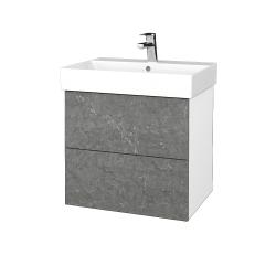 Dřevojas - Koupelnová skříň VARIANTE SZZ2 60 - N01 Bílá lesk / D20 Galaxy (260507)