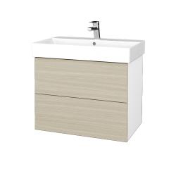 Dřevojas - Koupelnová skříň VARIANTE SZZ2 70 - N01 Bílá lesk / D04 Dub (261221)