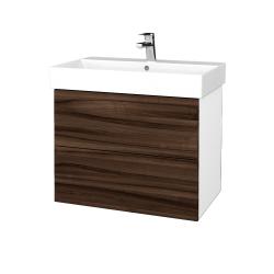 Dřevojas - Koupelnová skříň VARIANTE SZZ2 70 - N01 Bílá lesk / D06 Ořech (261245)