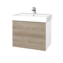 Dřevojas - Koupelnová skříň VARIANTE SZZ2 70 - N01 Bílá lesk / D17 Colorado (261306)