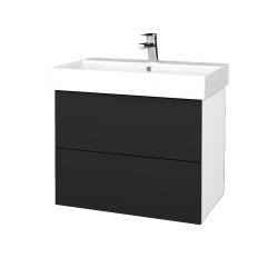 Dřevojas - Koupelnová skříň VARIANTE SZZ2 70 - N01 Bílá lesk / L03 Antracit vysoký lesk (261344)