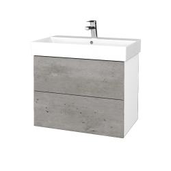 Dřevojas - Koupelnová skříň VARIANTE SZZ2 70 - N01 Bílá lesk / D01 Beton (261412)