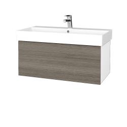 Dřevojas - Koupelnová skříň VARIANTE SZZ 85 - N01 Bílá lesk / D03 Cafe (261689)
