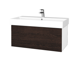 Dřevojas - Koupelnová skříň VARIANTE SZZ 85 - N01 Bílá lesk / D08 Wenge (261726)