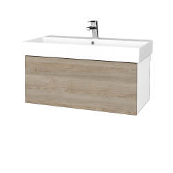 Dřevojas - Koupelnová skříň VARIANTE SZZ 85 - N01 Bílá lesk / D17 Colorado (261771)