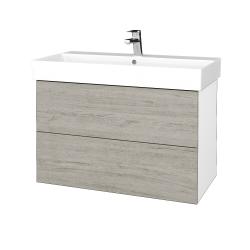 Dřevojas - Koupelnová skříň VARIANTE SZZ2 85 - N01 Bílá lesk / D05 Oregon (262174)