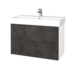 Dřevojas - Koupelnová skříň VARIANTE SZZ2 85 - N01 Bílá lesk / D16 Beton tmavý (262235)