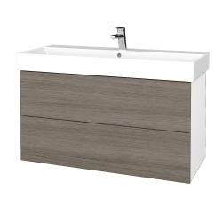 Dřevojas - Koupelnová skříň VARIANTE SZZ2 100 - N01 Bílá lesk / D03 Cafe (263096)